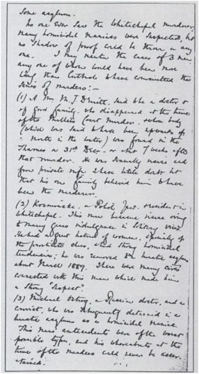 Image of the document written by Sir Melville Macnaghten in 1894 that names 'Kosminski' as one of three suspects in the Jack the Ripper case.