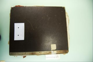 View of the back of the register with metal attachment along right hand edge   Haley McHaffie