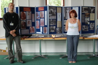 Gary Moyle and Paula Mumford with the exhibition on the history of Hill End. Trestle Theatre, 2009 | HALS