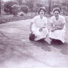 Leila and Nell, (Radiographers,) outside FF1 Ward