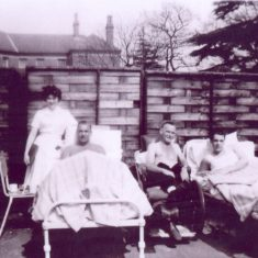 TB patients with Leila outside FF1, Mr Bullock, Mr Starkey and Ray Gilroy